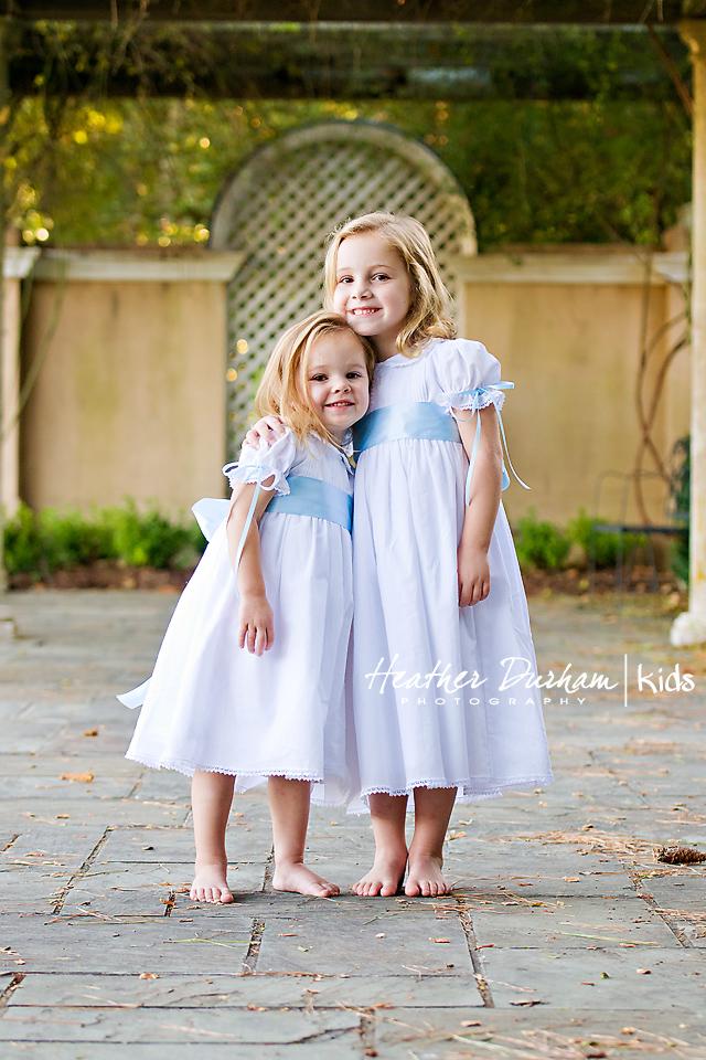 Girl Blue Sash White Dress